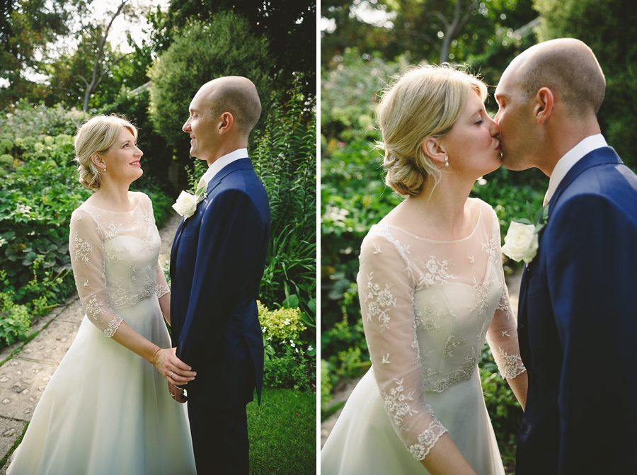 bride and groom portrait at barnsley house by sam gibson