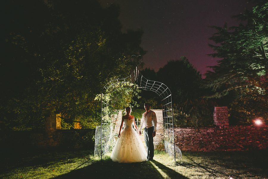 bride and groom portrait at night at crowcombe court wedding