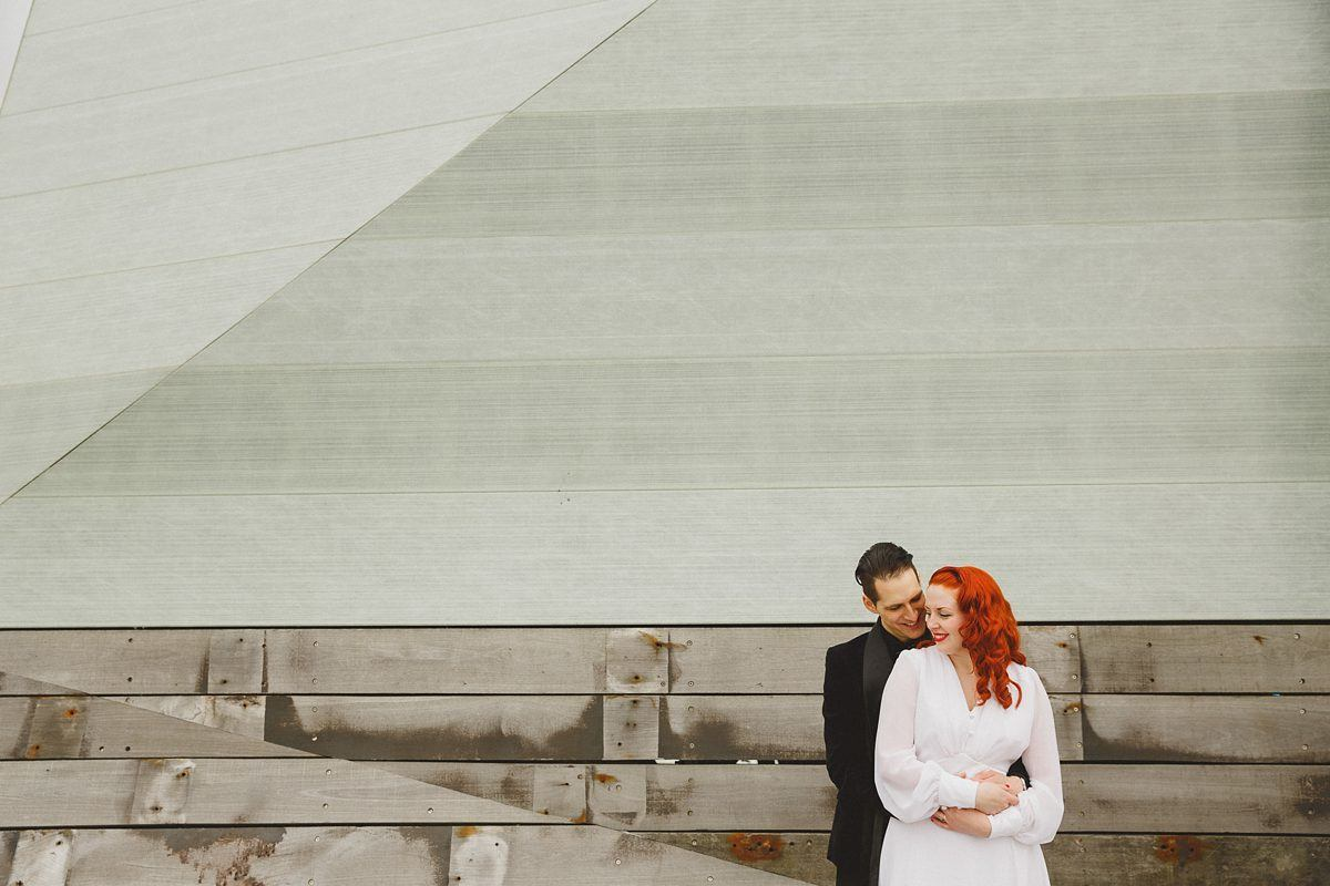 bride and groom portrait at southend pier