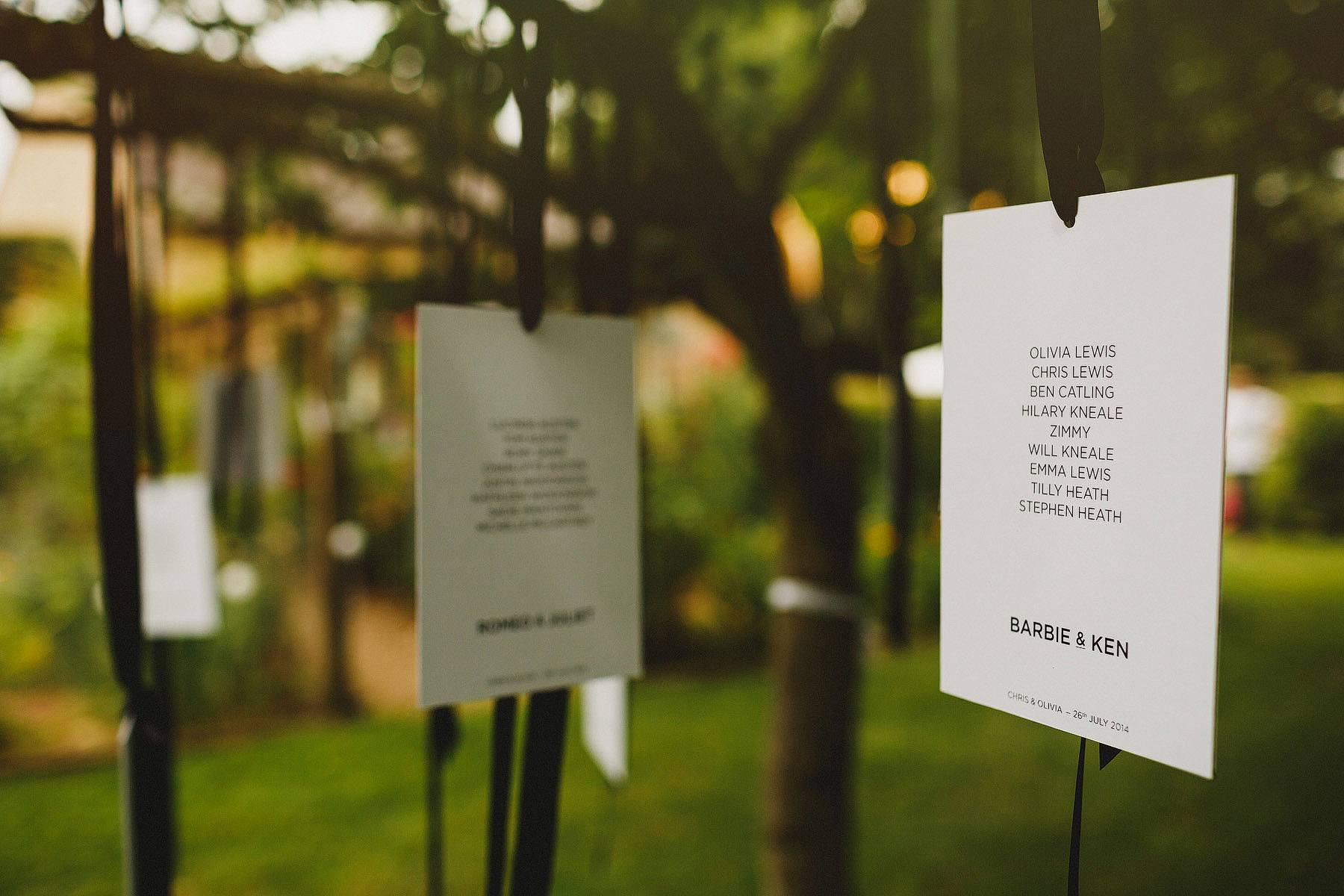 wedding table plan in a tree
