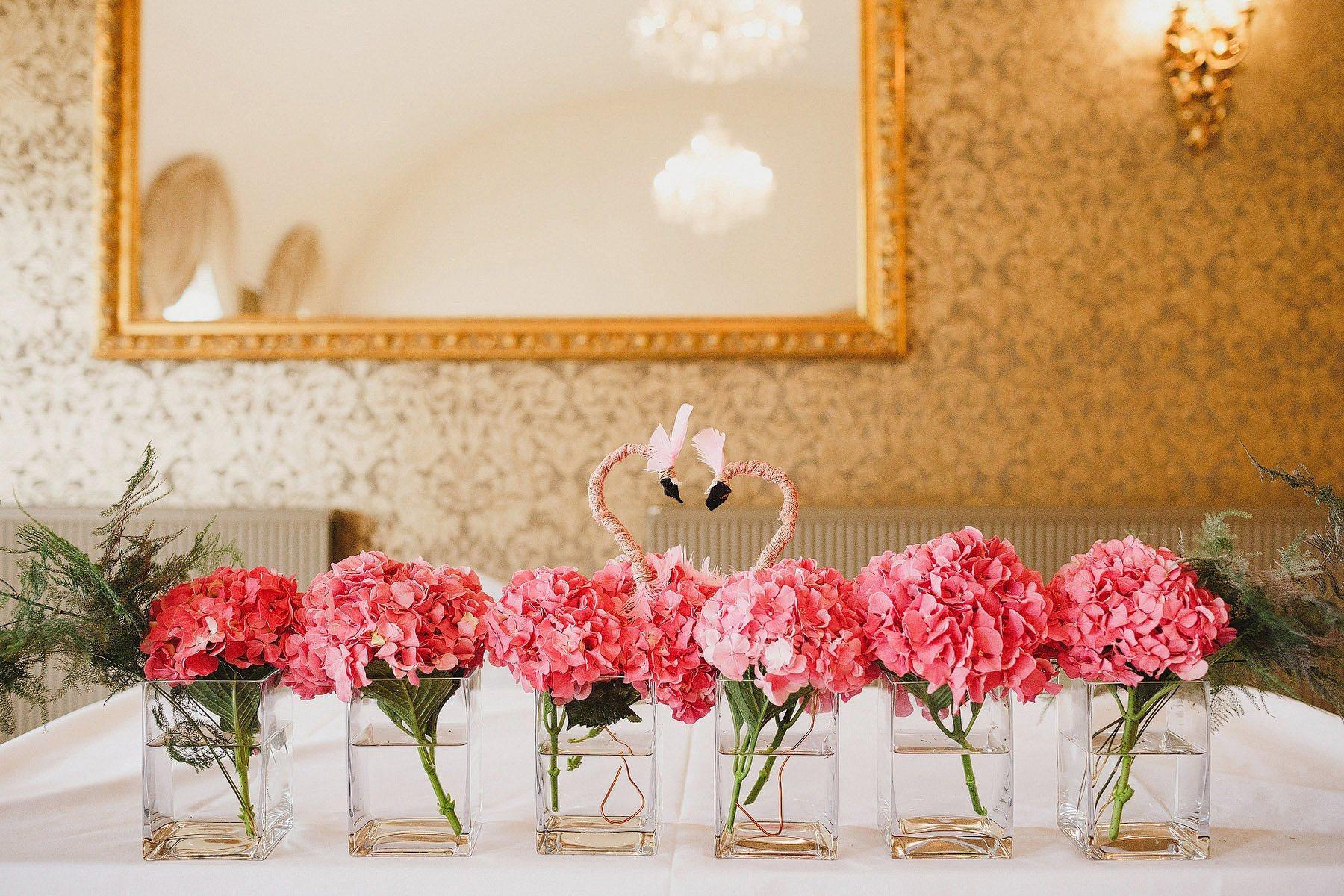 flamingo flowers at a wedding