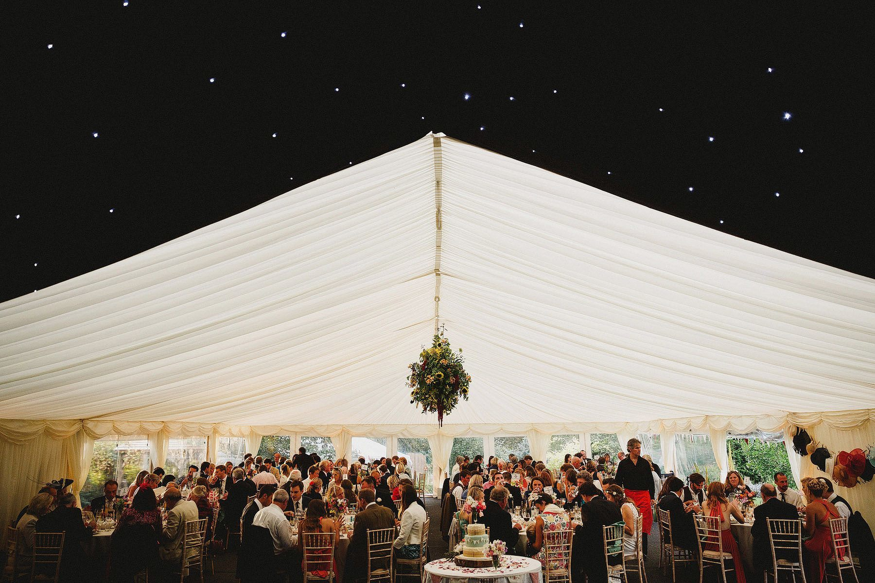 wedding marquee with starlight ceiling
