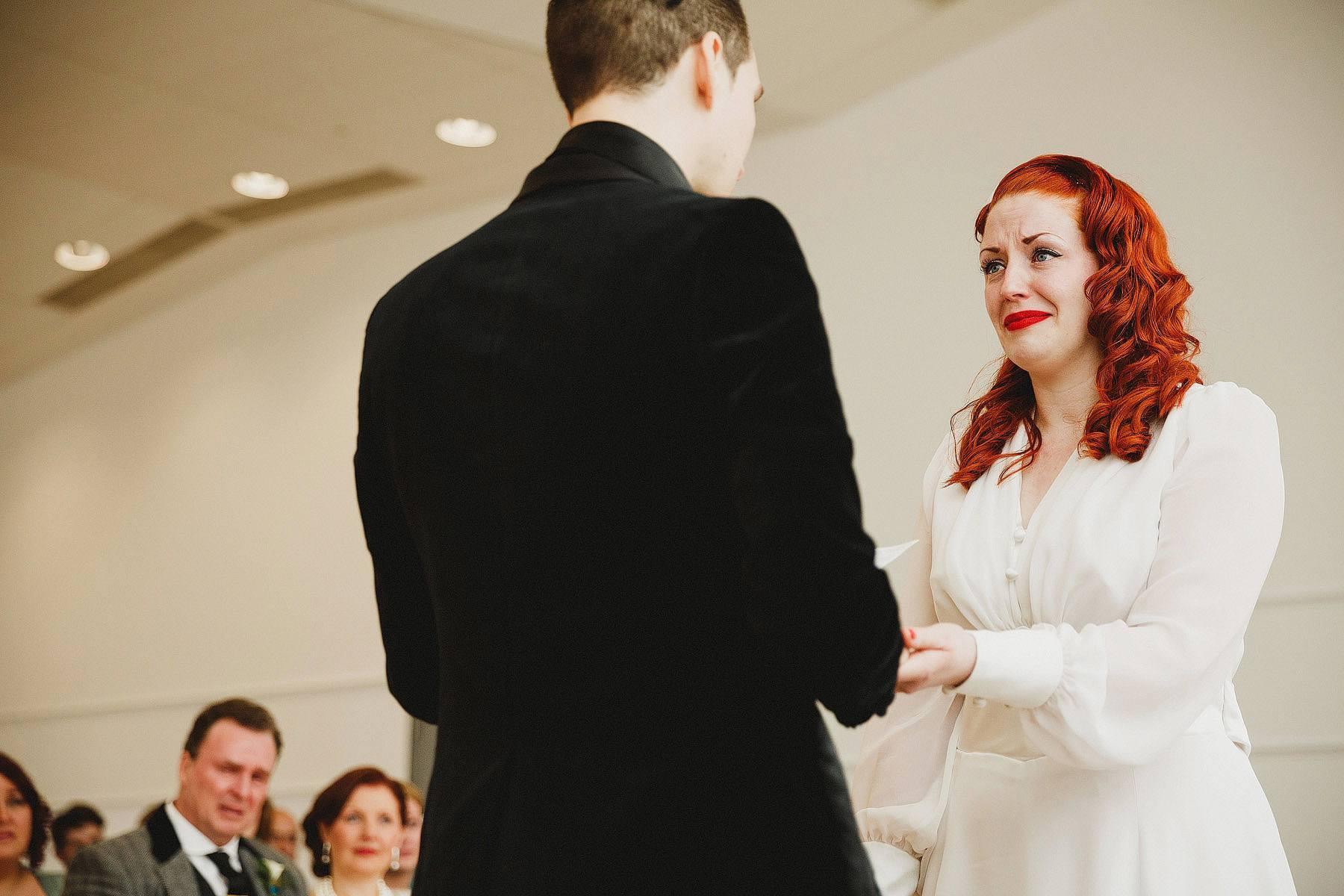 tearful bride wedding ceremony