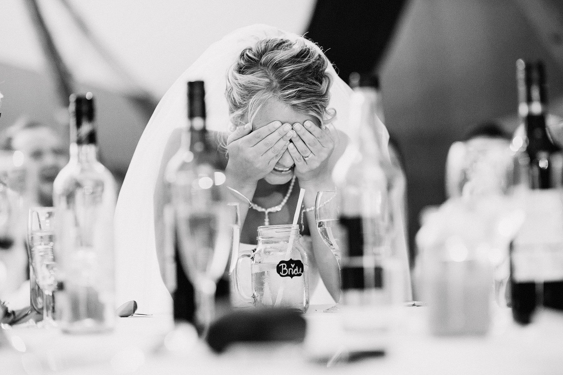 bride embarrassed during speech