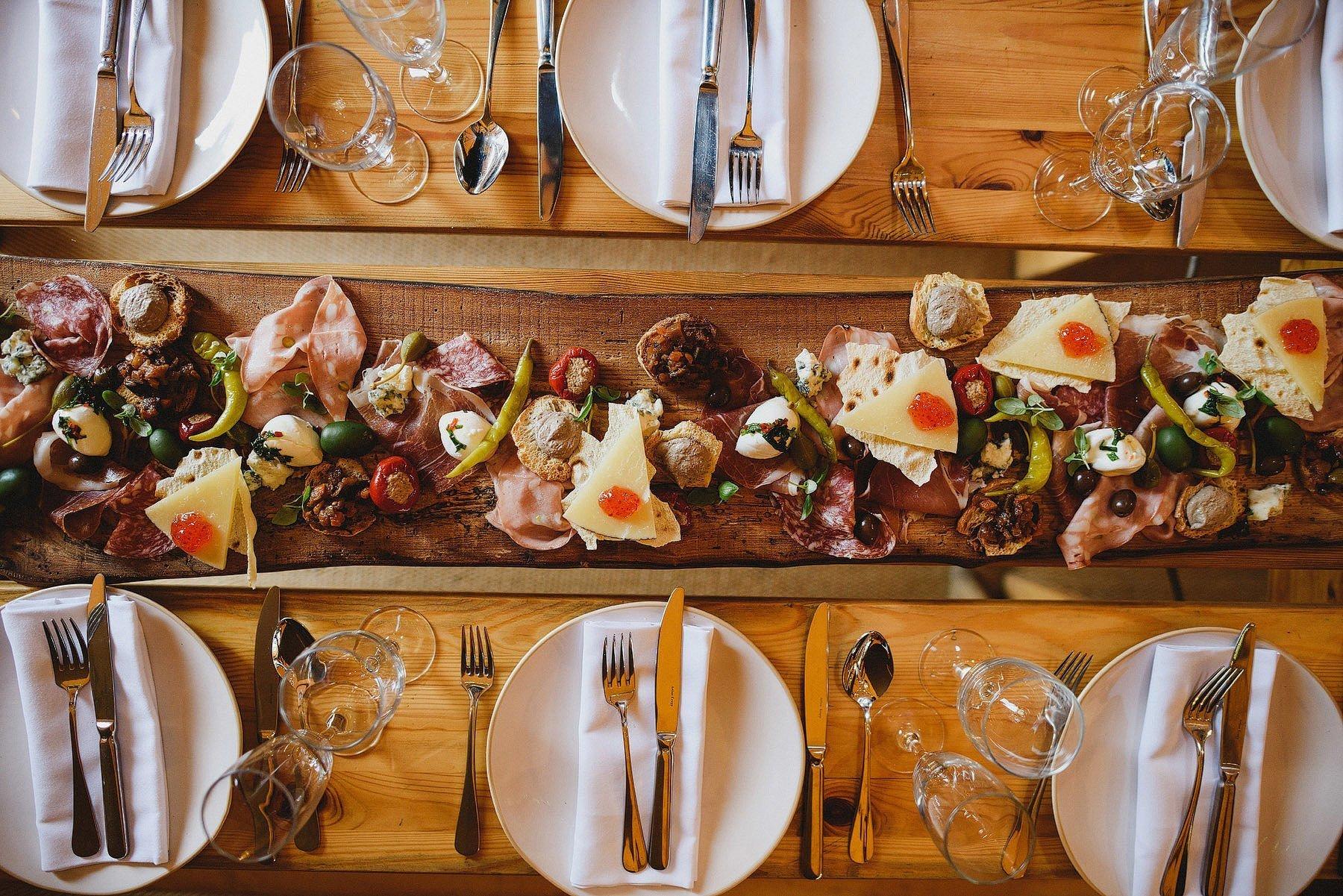 sharing platter at a wedding