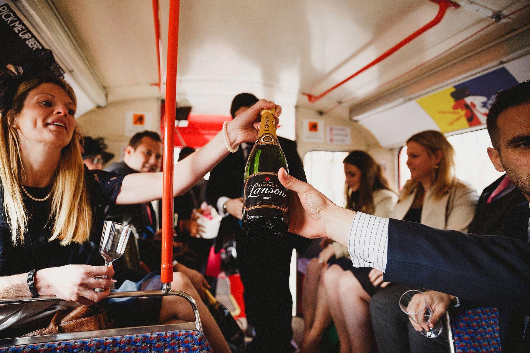 london wedding bus champagne