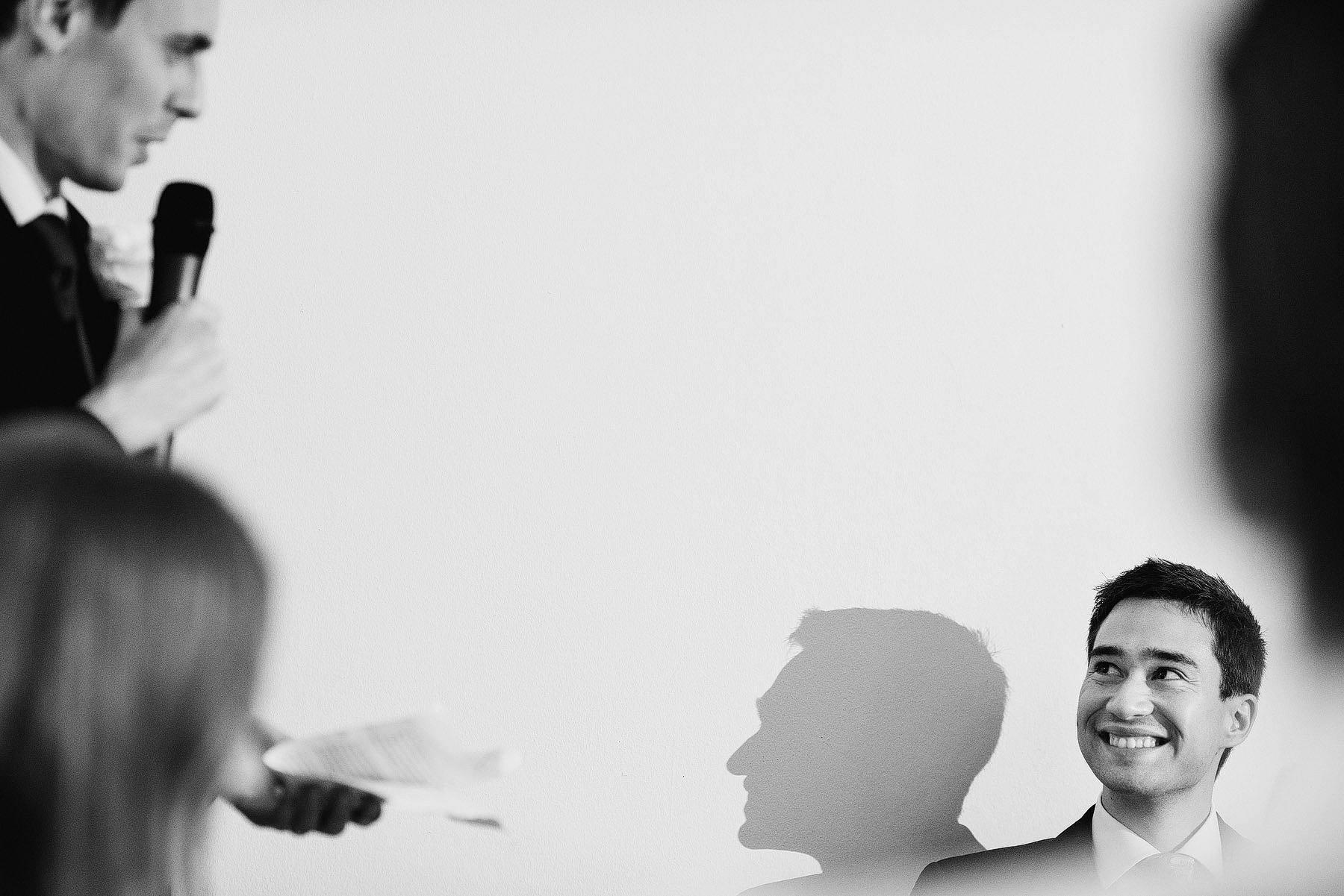 nervous groom during best man speech