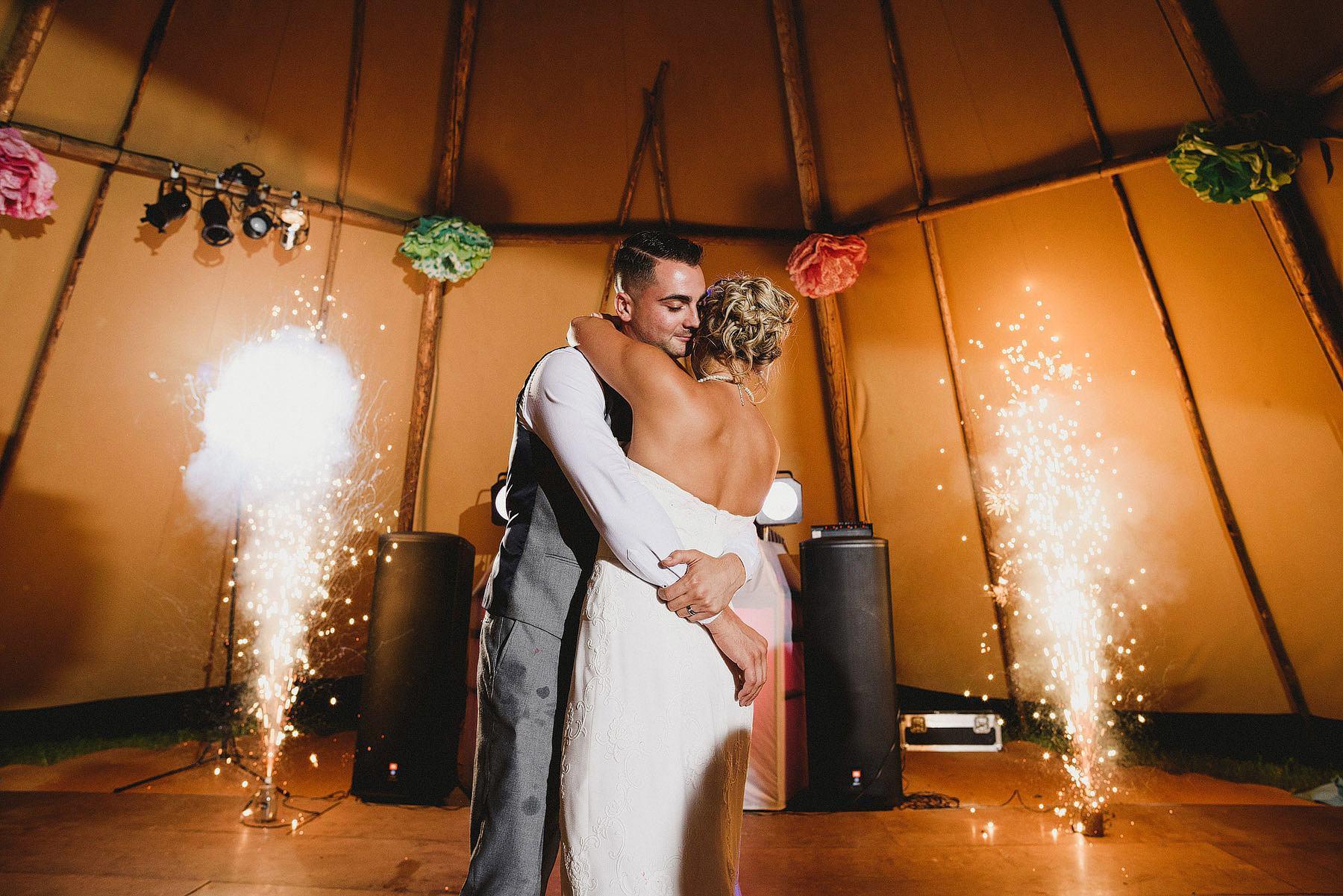 fireworks on dancefloor at a wedding