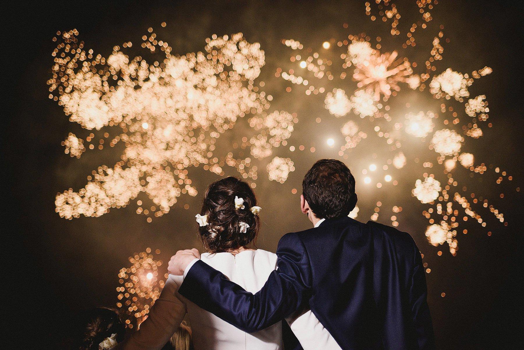 fireworks at endsleigh wedding