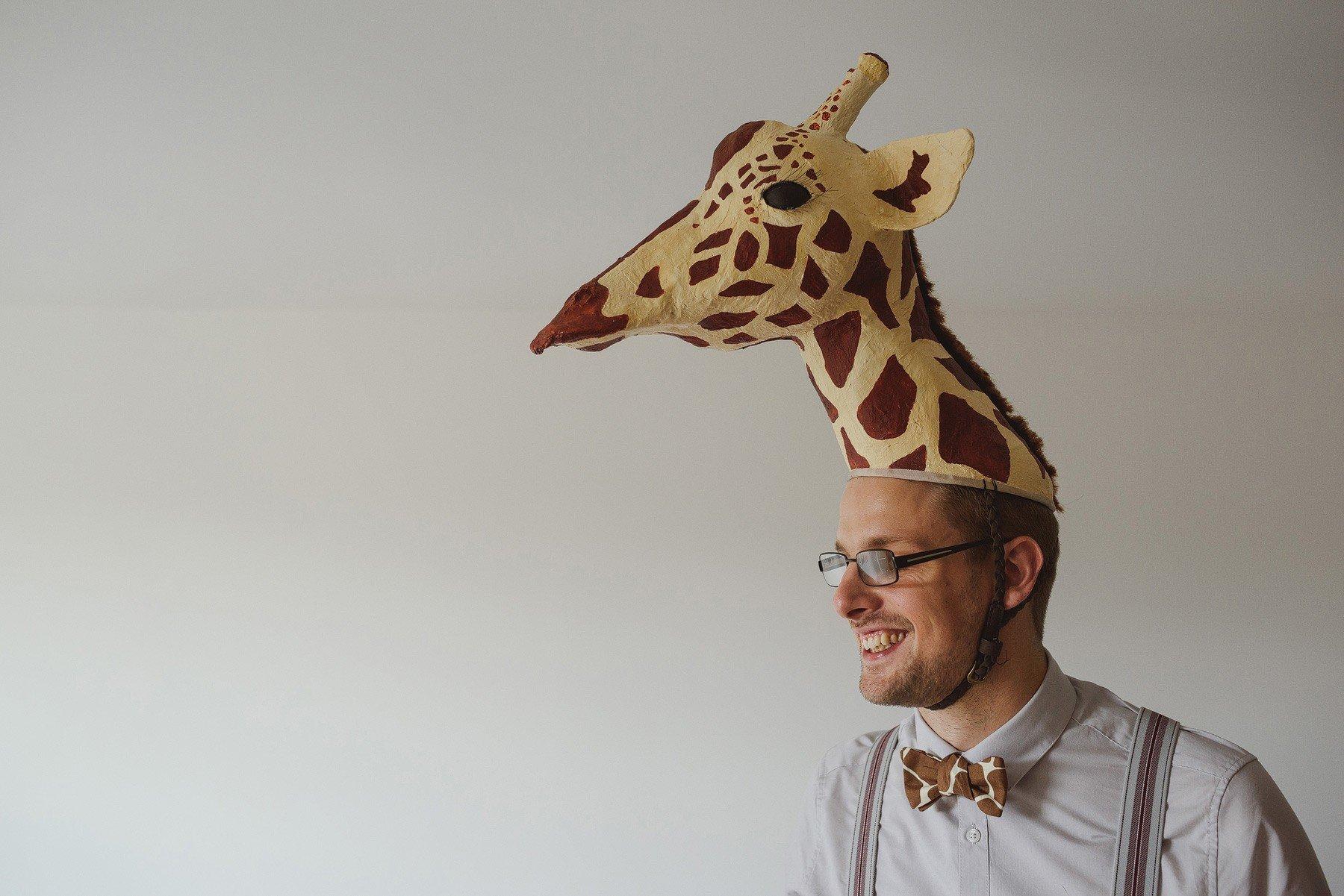 groom dressed as a giraffe