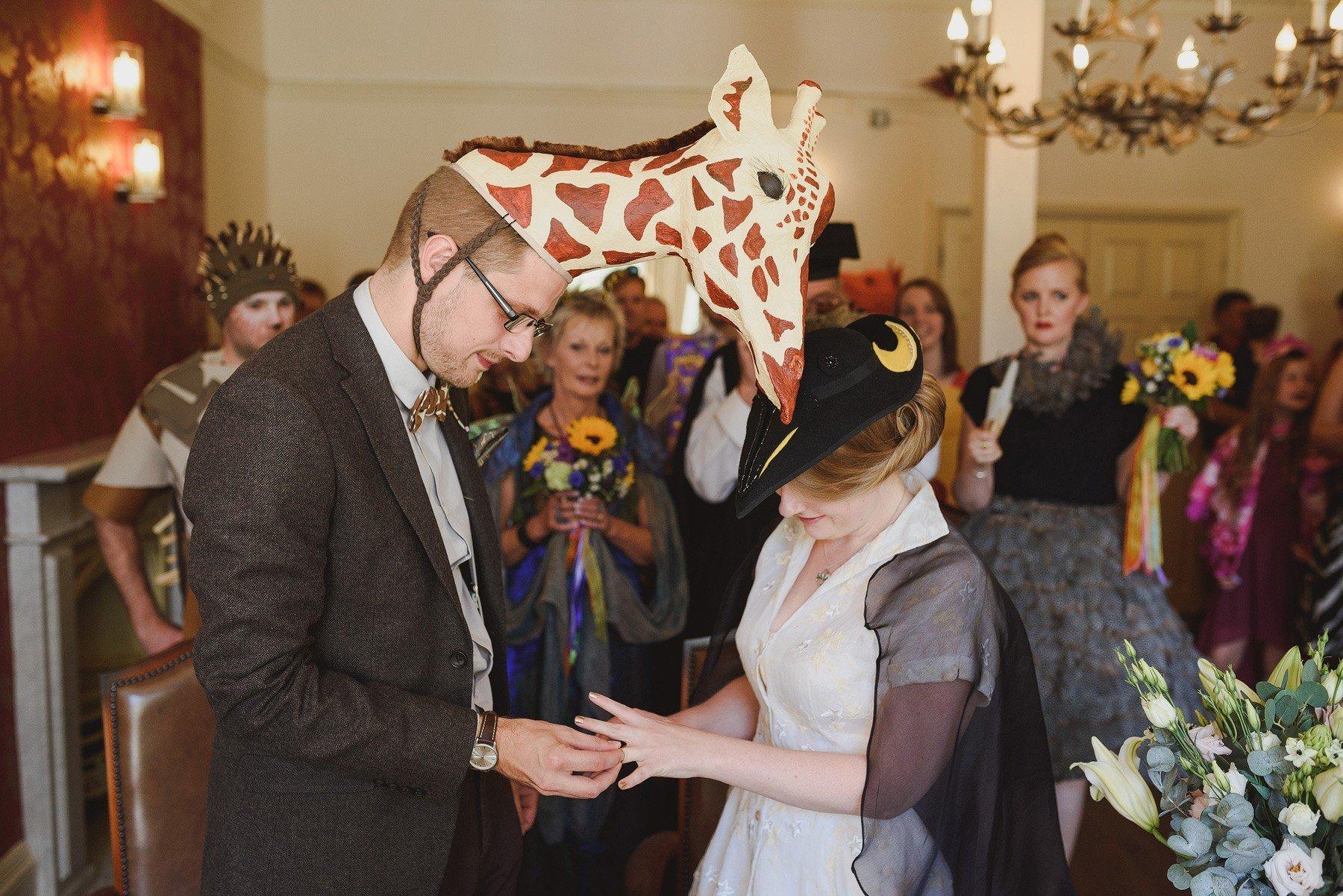 giraffe and penguin fancy dress wedding