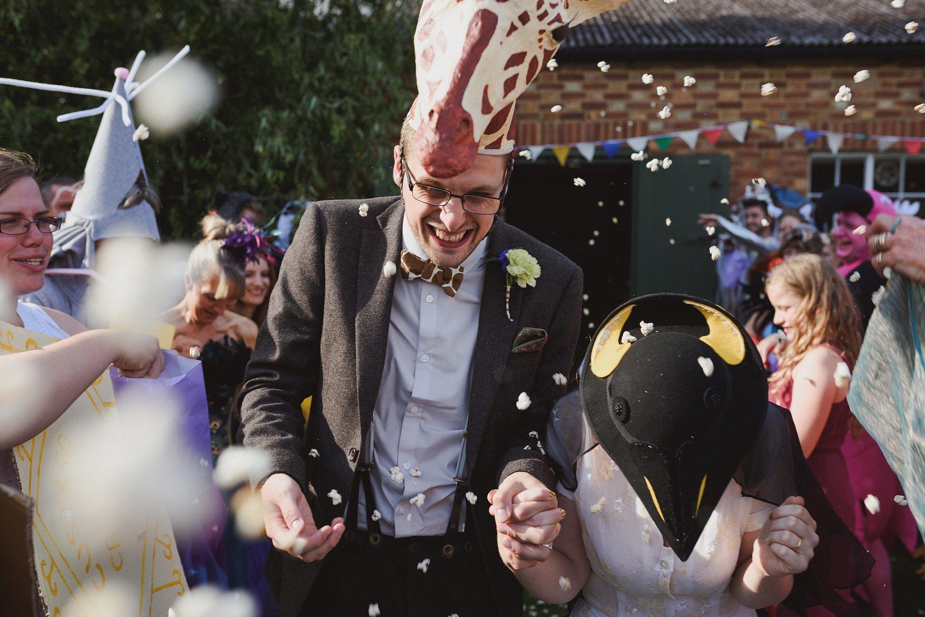 popcorn confetti at a wedding