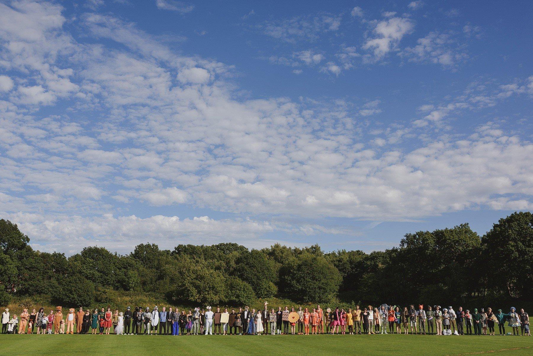 fancy dress wedding group photograph