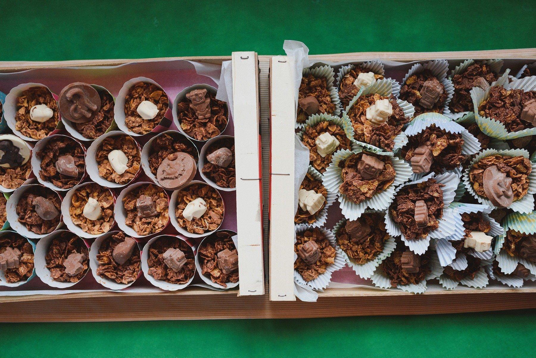 chocolate cornflake cakes at a wedding