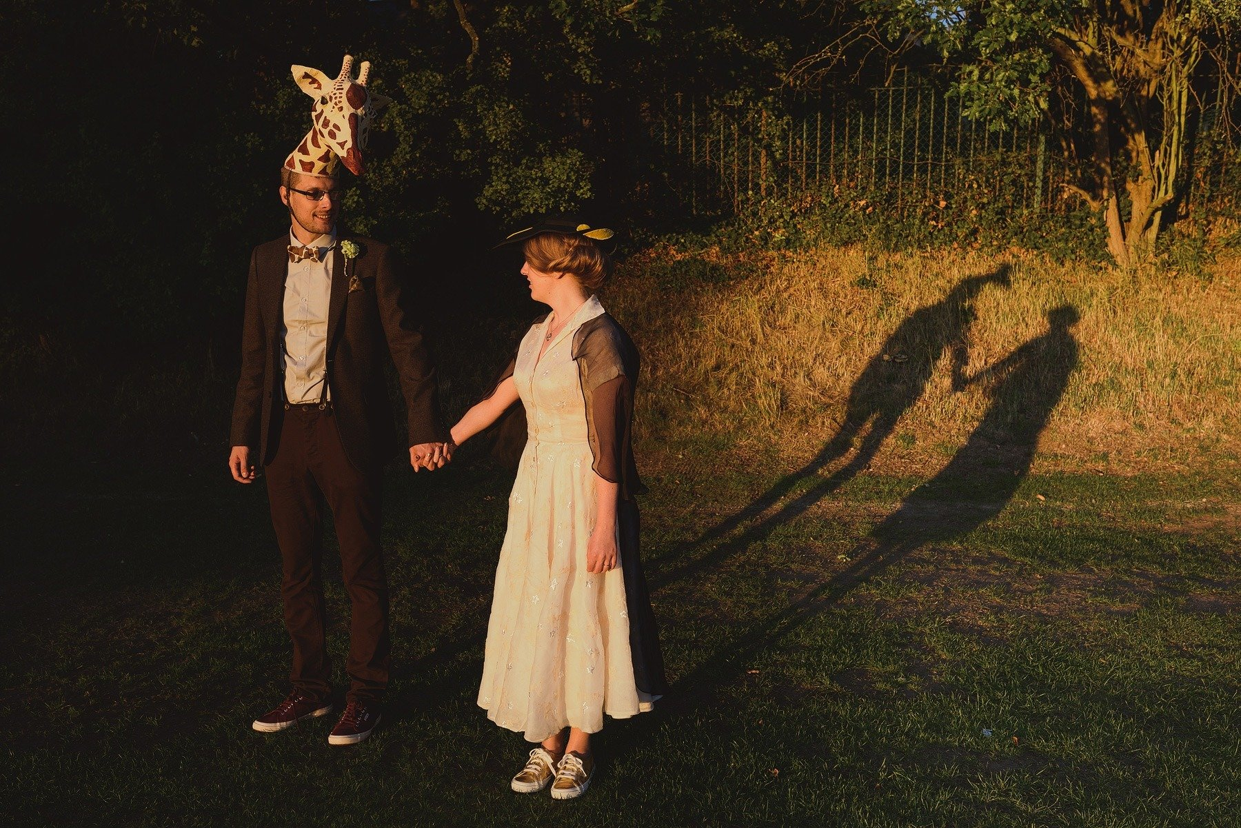 bride and groom portraits in fancy dress