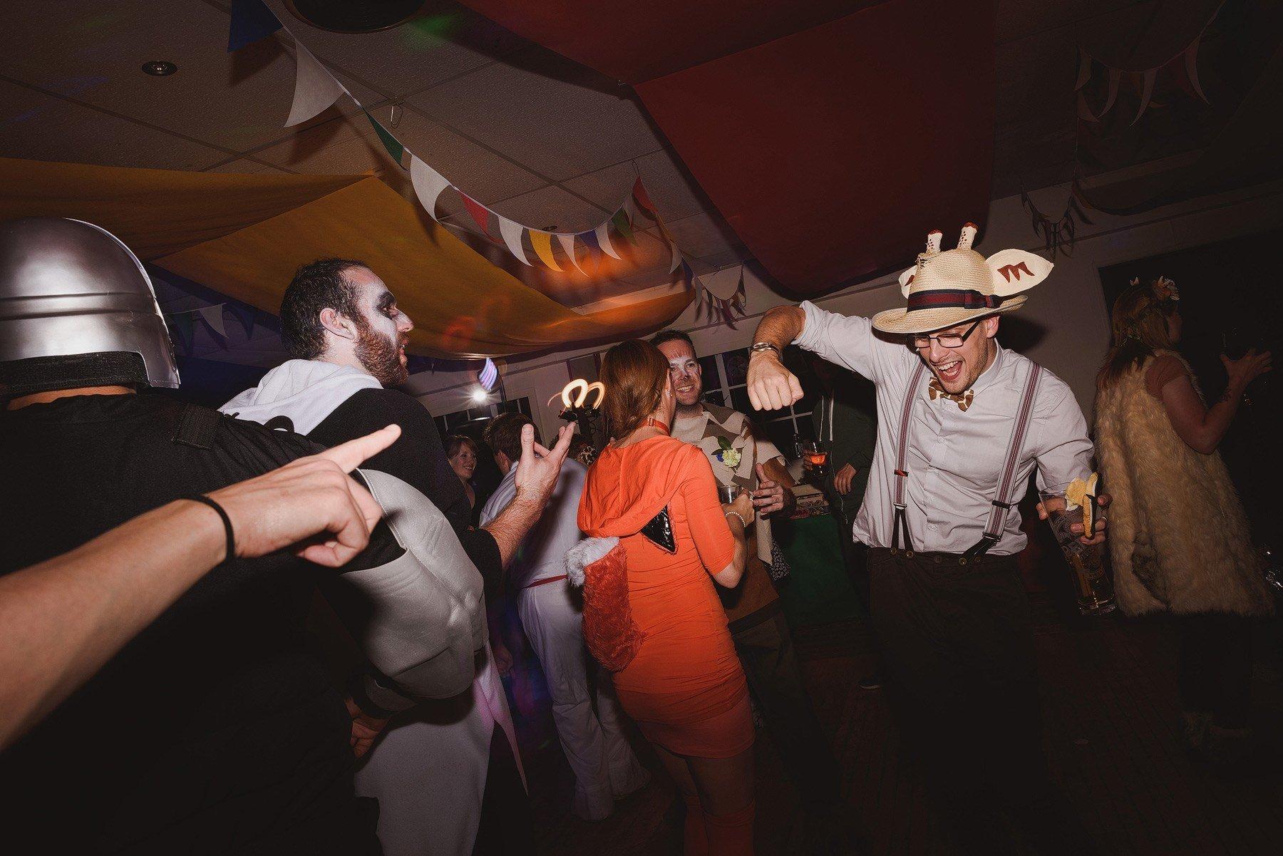 dancing at a fancy dress wedding