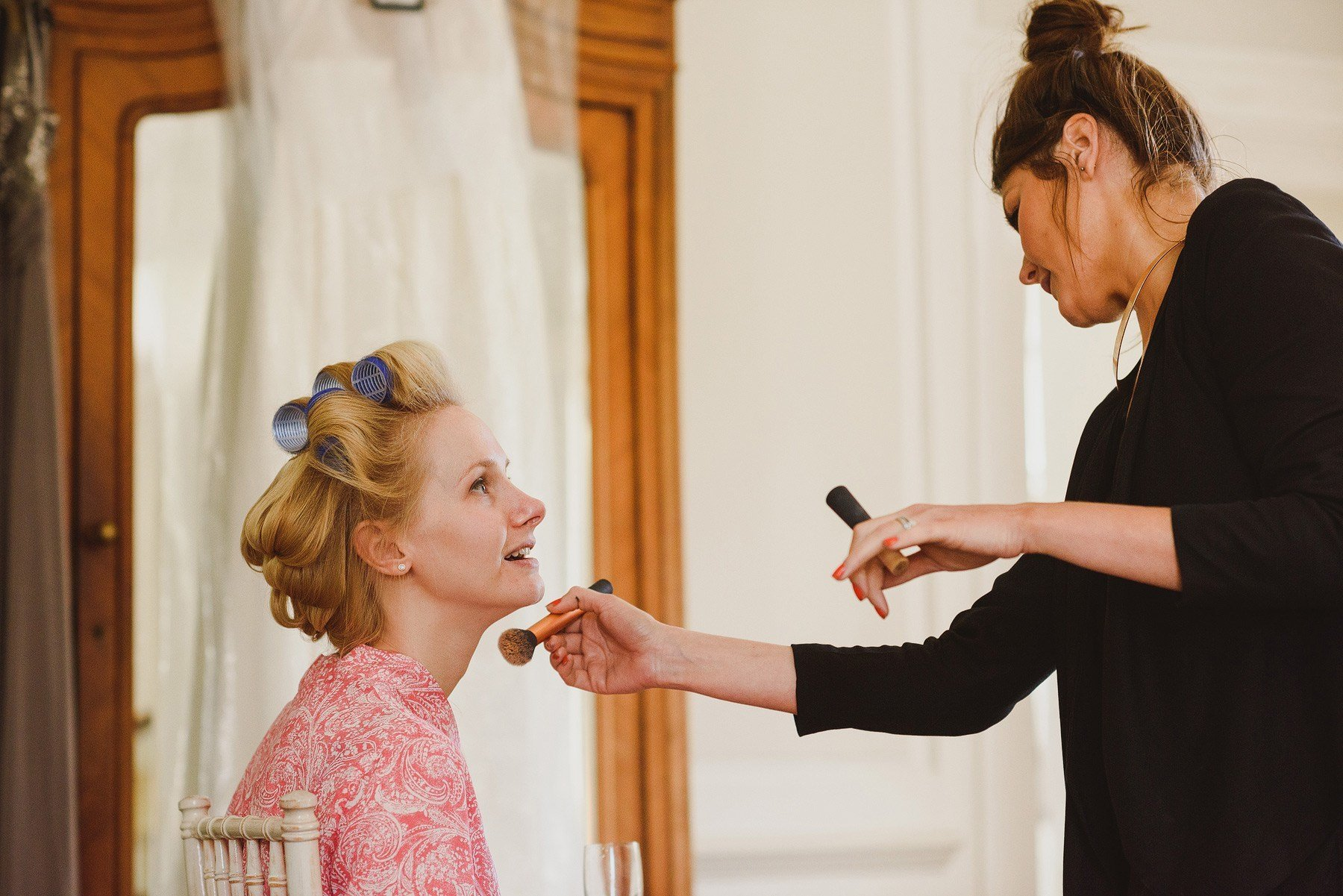 bridesmaids getting ready at the rectory in crudwell