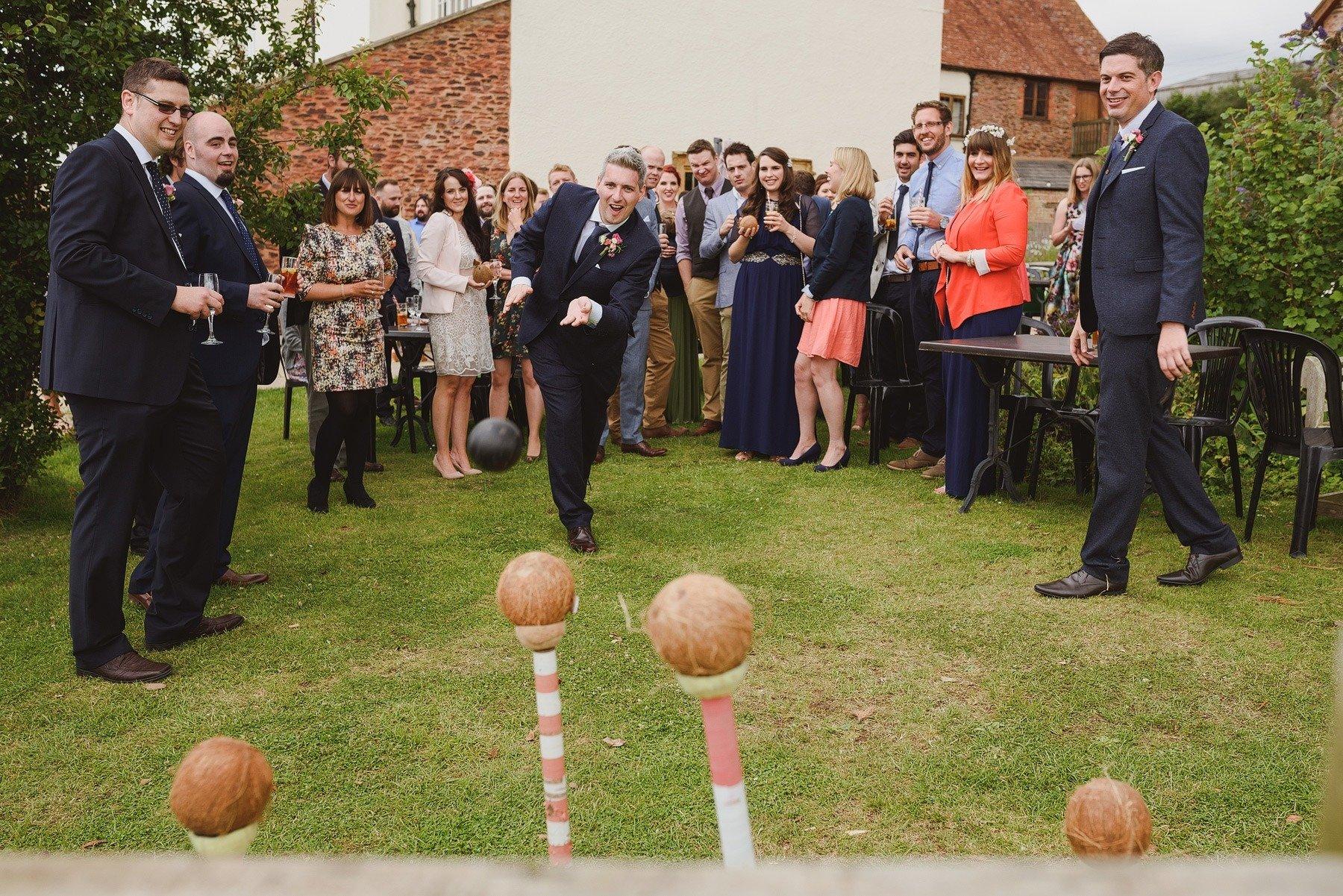 coconut shy at huntstile farm wedding