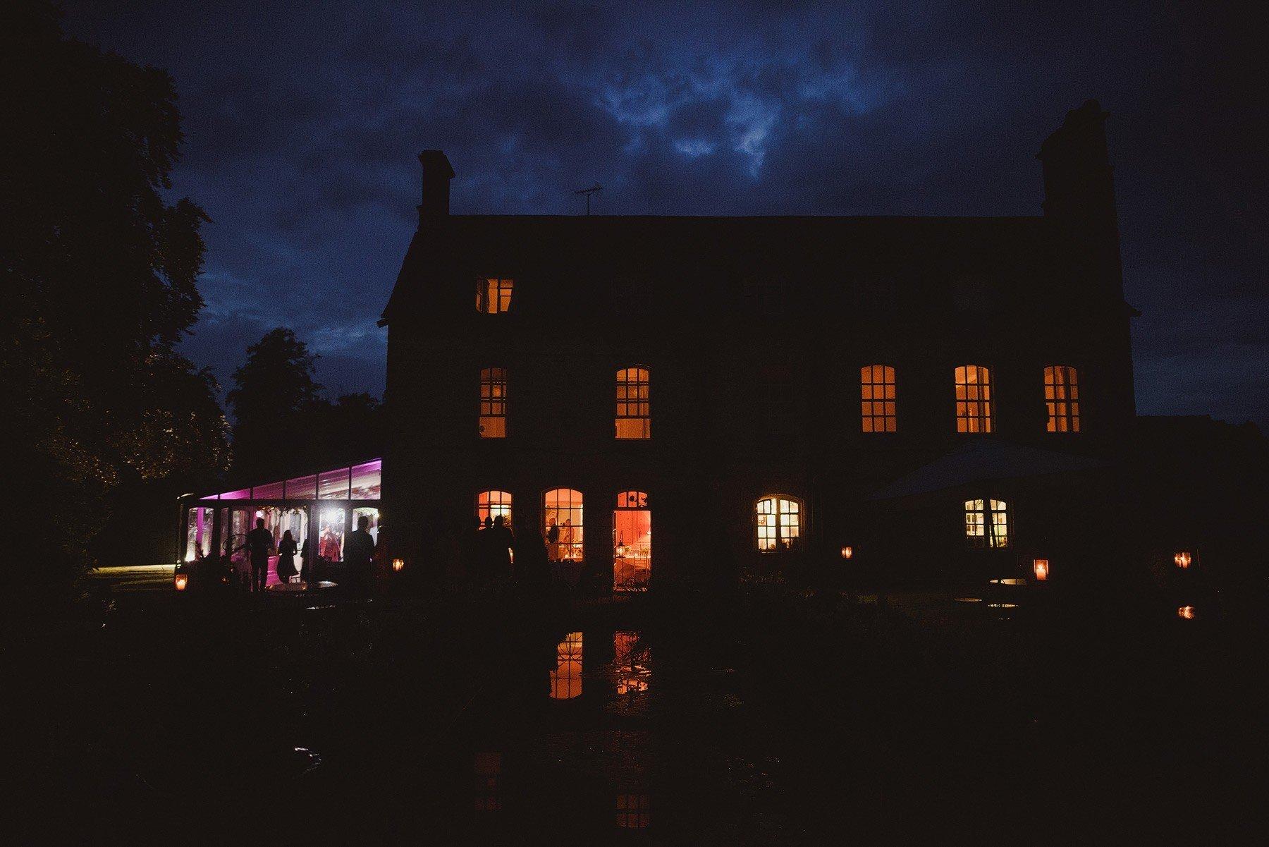 the rectory wedding venue at night