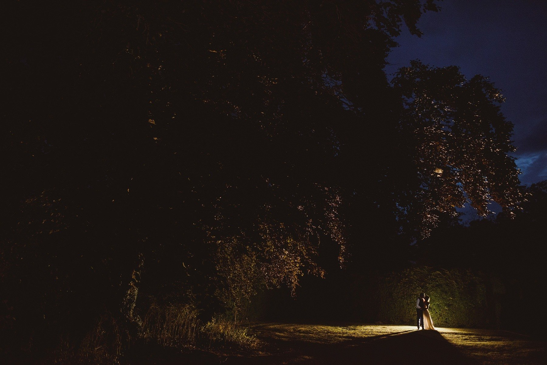 the rectory in crudwell wedding venue at night