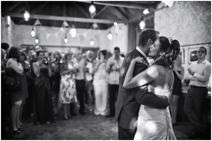 River Cottage Wedding Photography first dance looking at each other