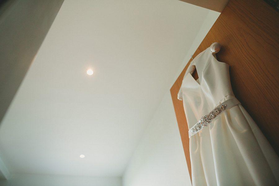 wedding dress hanging up