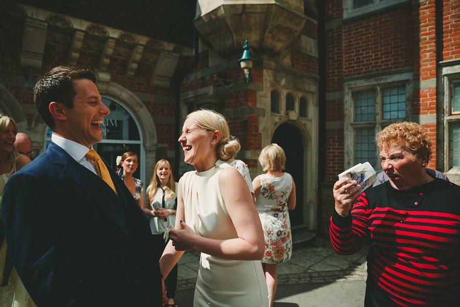 bride and groom in morris minor