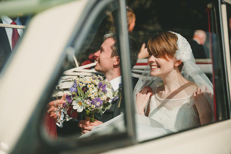 bride on double decker bus
