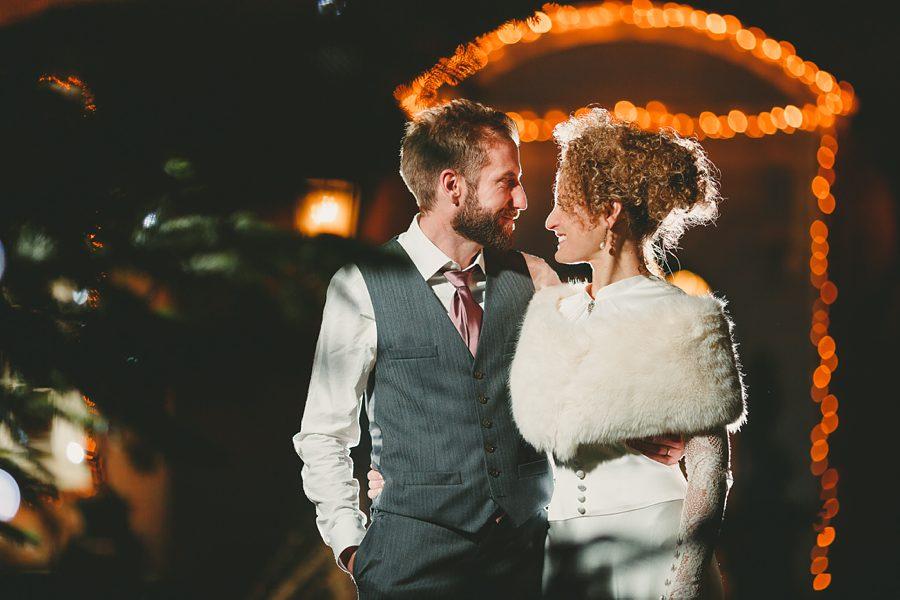 bride and groom portrait at night at matara centre