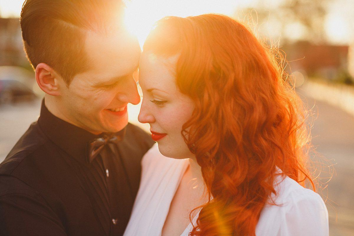 bride and groom sunset portrait in southend