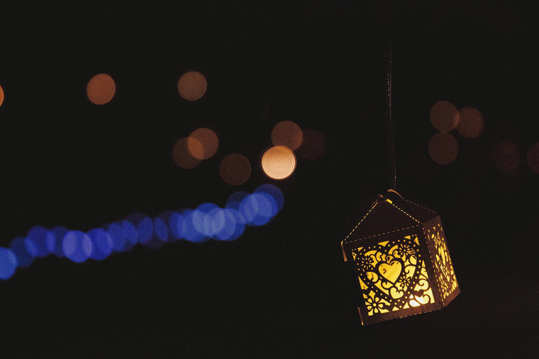 evening lanterns at a wedding