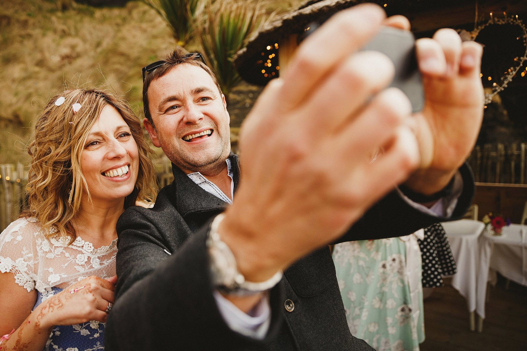 bride and groom selfie at the tunnels ilfracombe