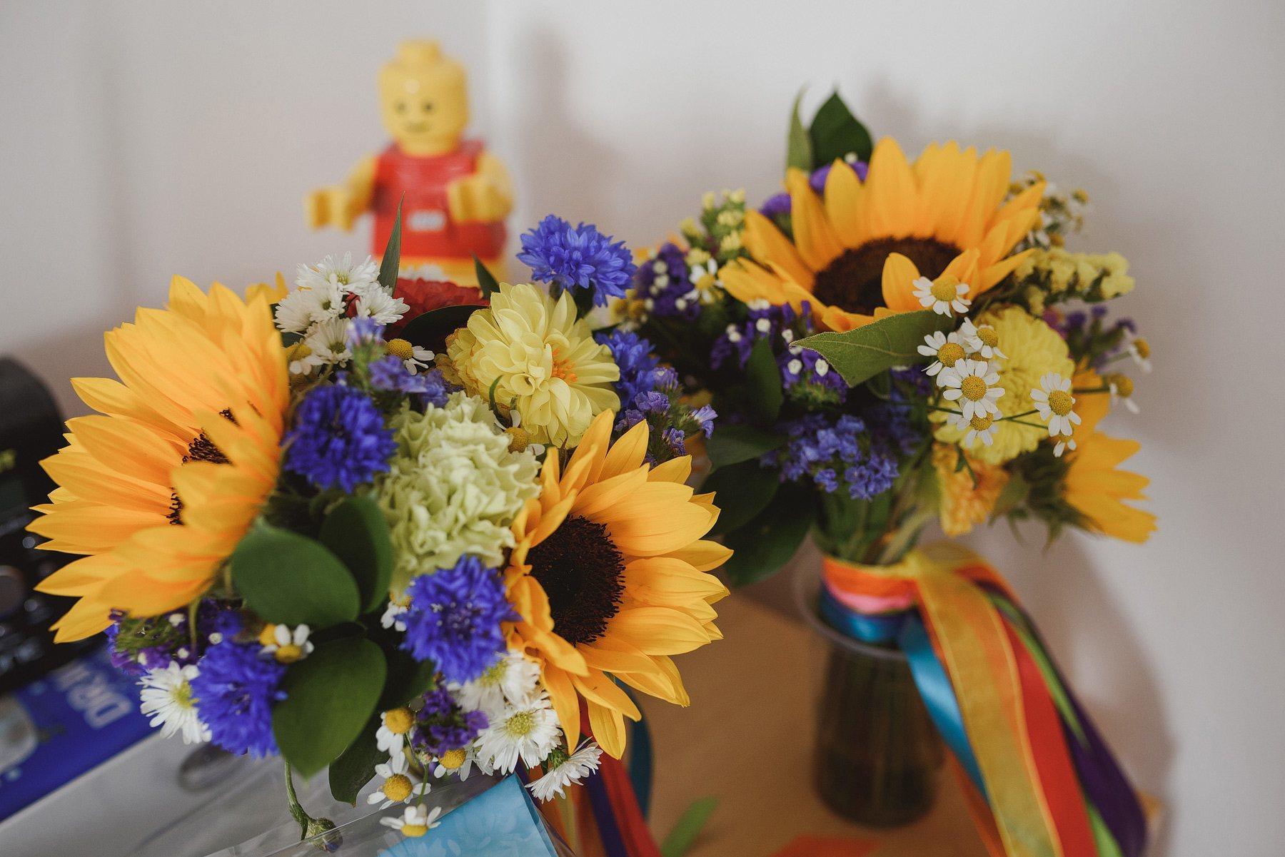 bright sunflower wedding bouquet