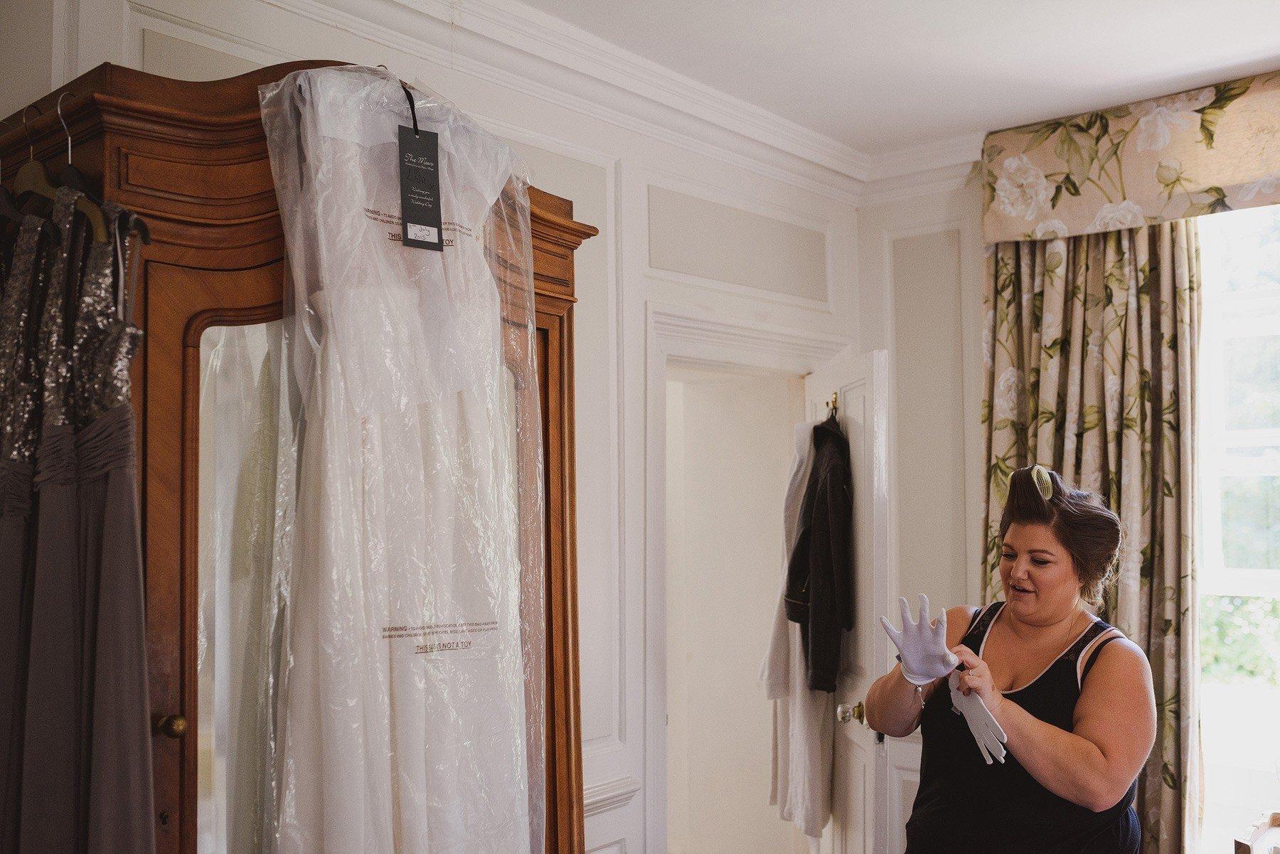 wedding dress white gloves