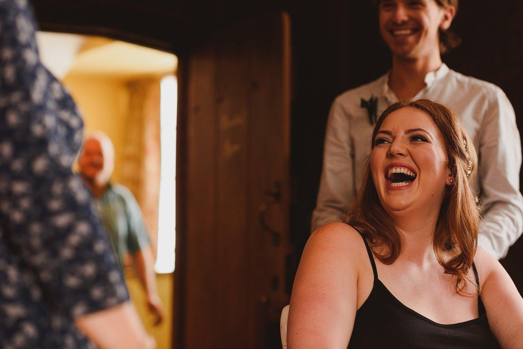 bride laughing at huntstile organic farm