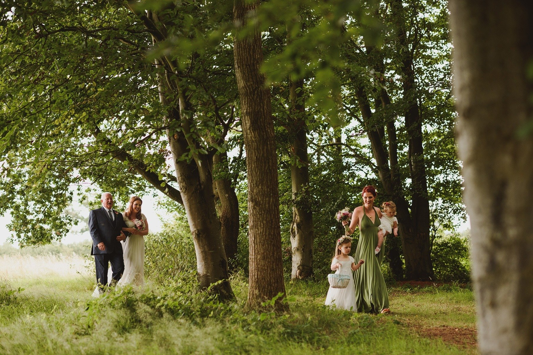 bride arriving for the ceremony at huntstile