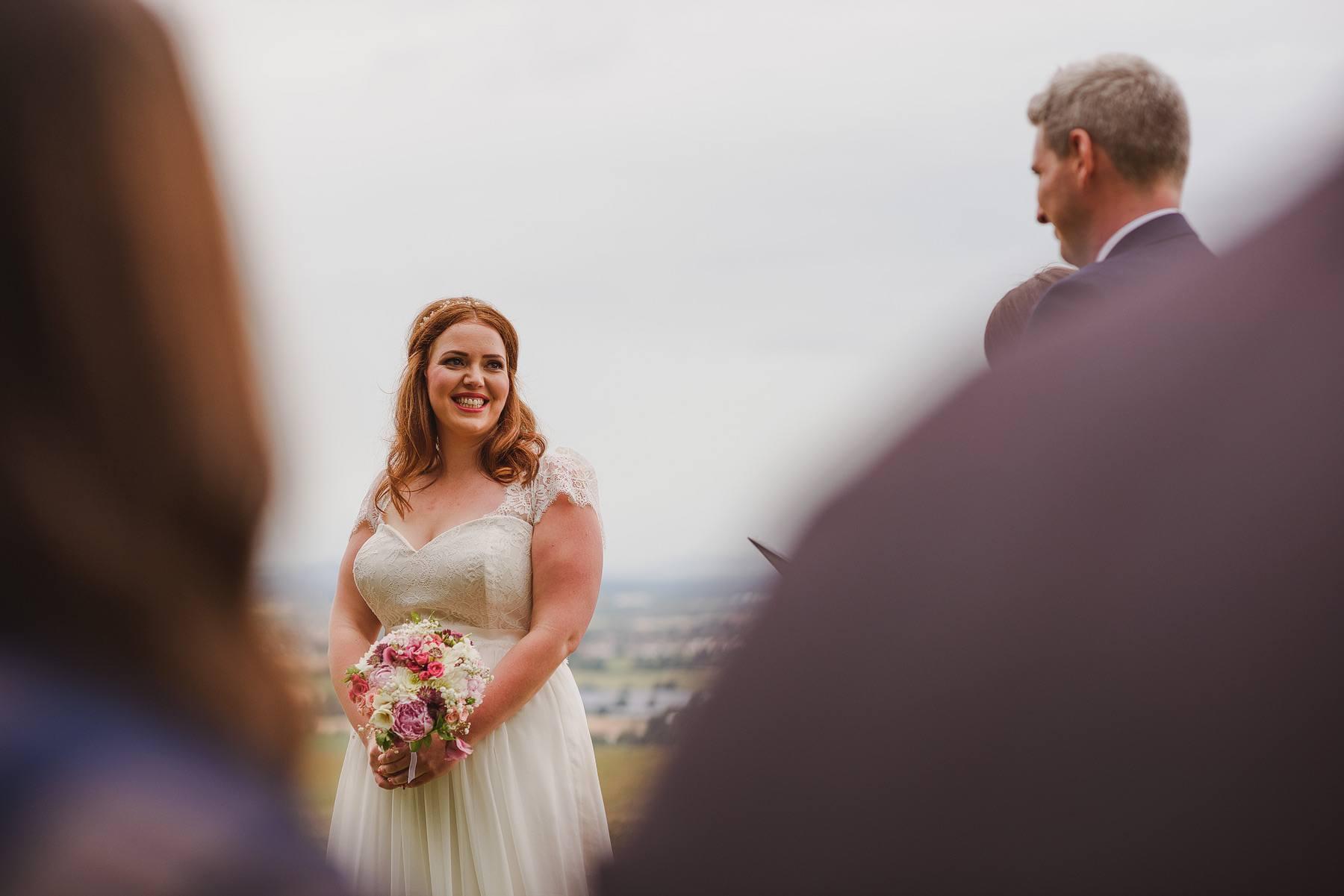 bride smiling at huntstile
