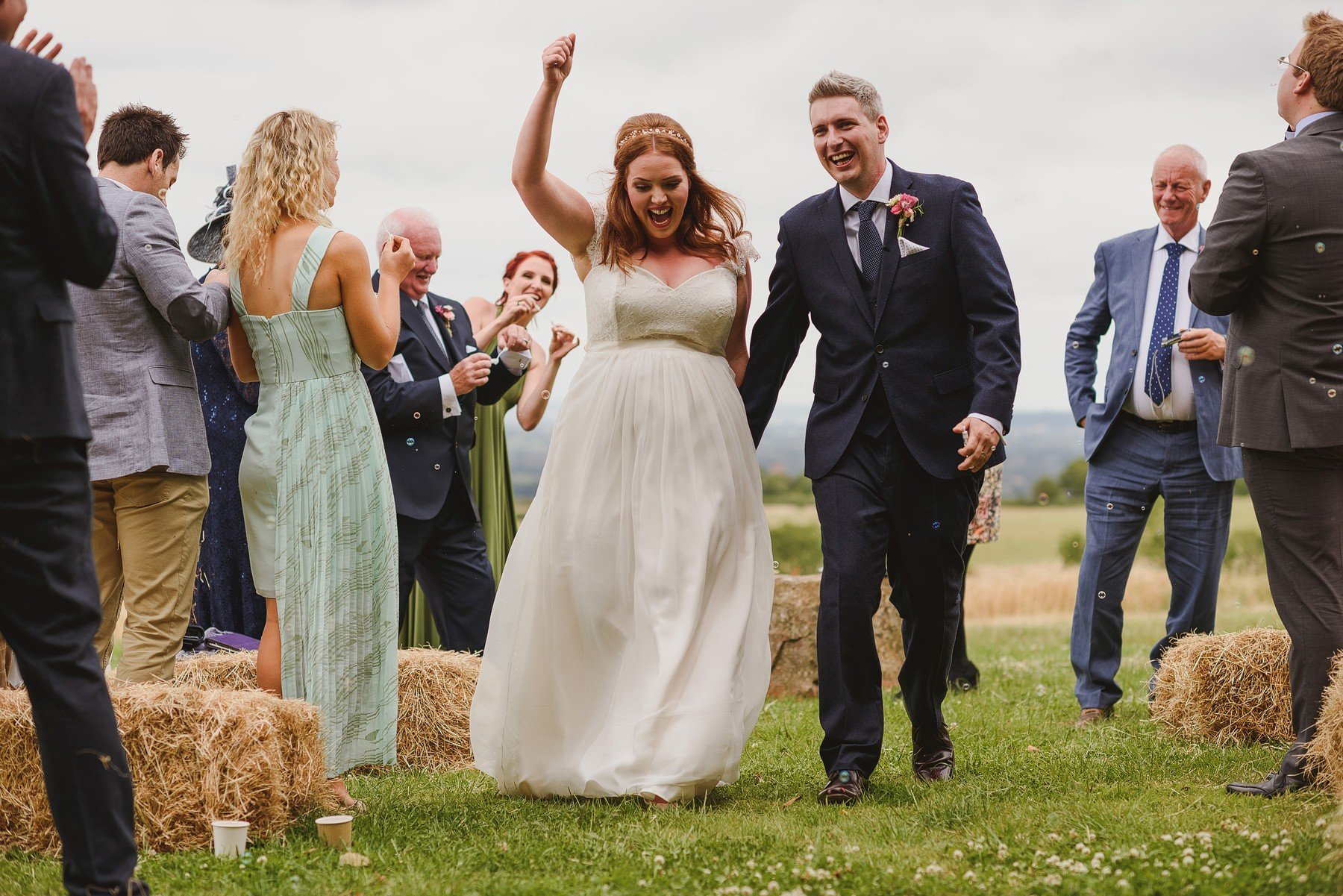 fist pump after wedding ceremony at huntstile farm