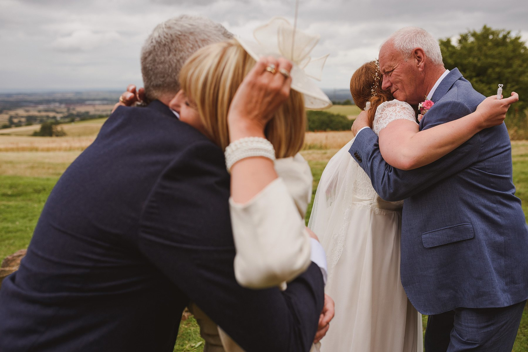 double hug after wedding ceremony at huntstile