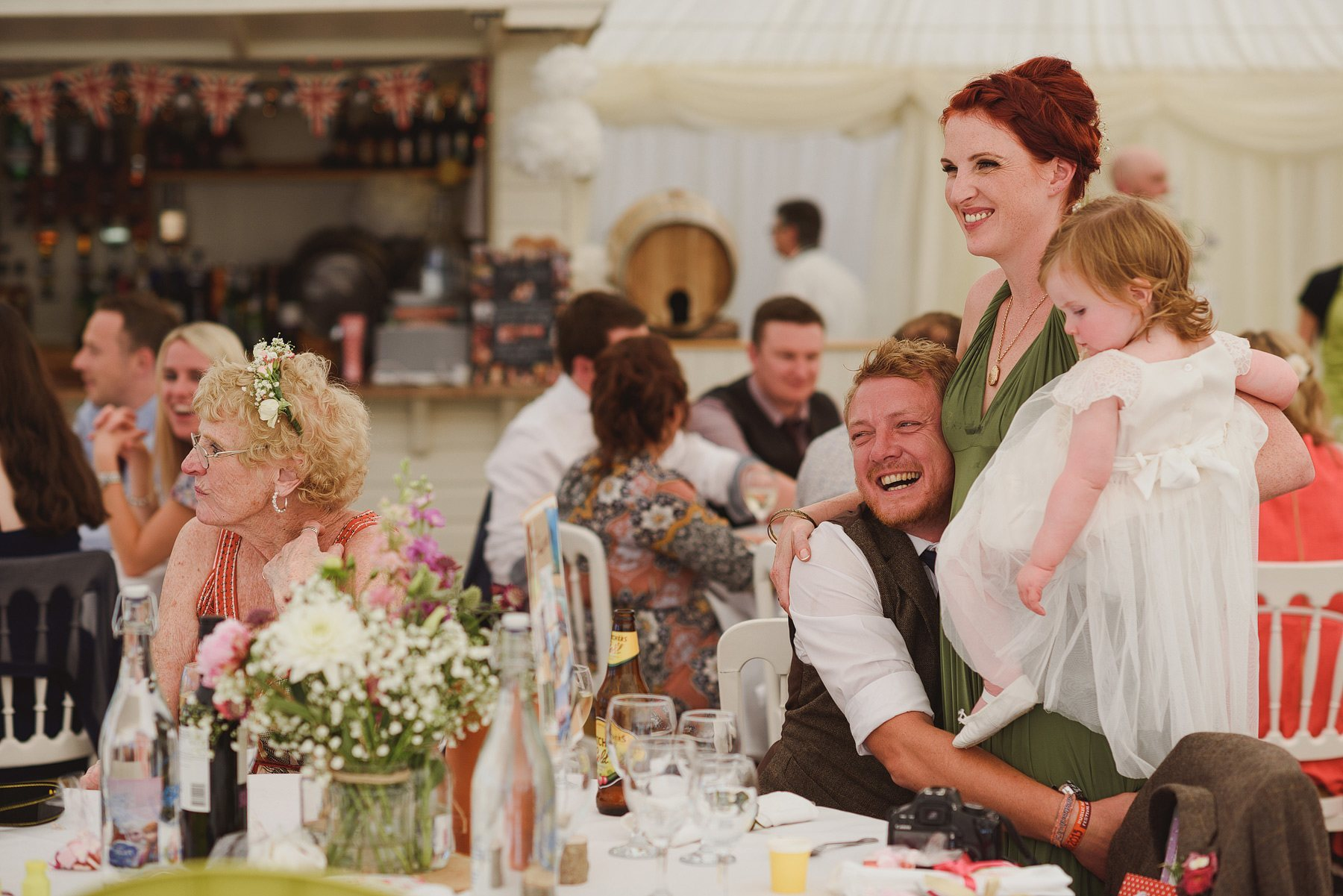 laughing guests during wedding at huntstile