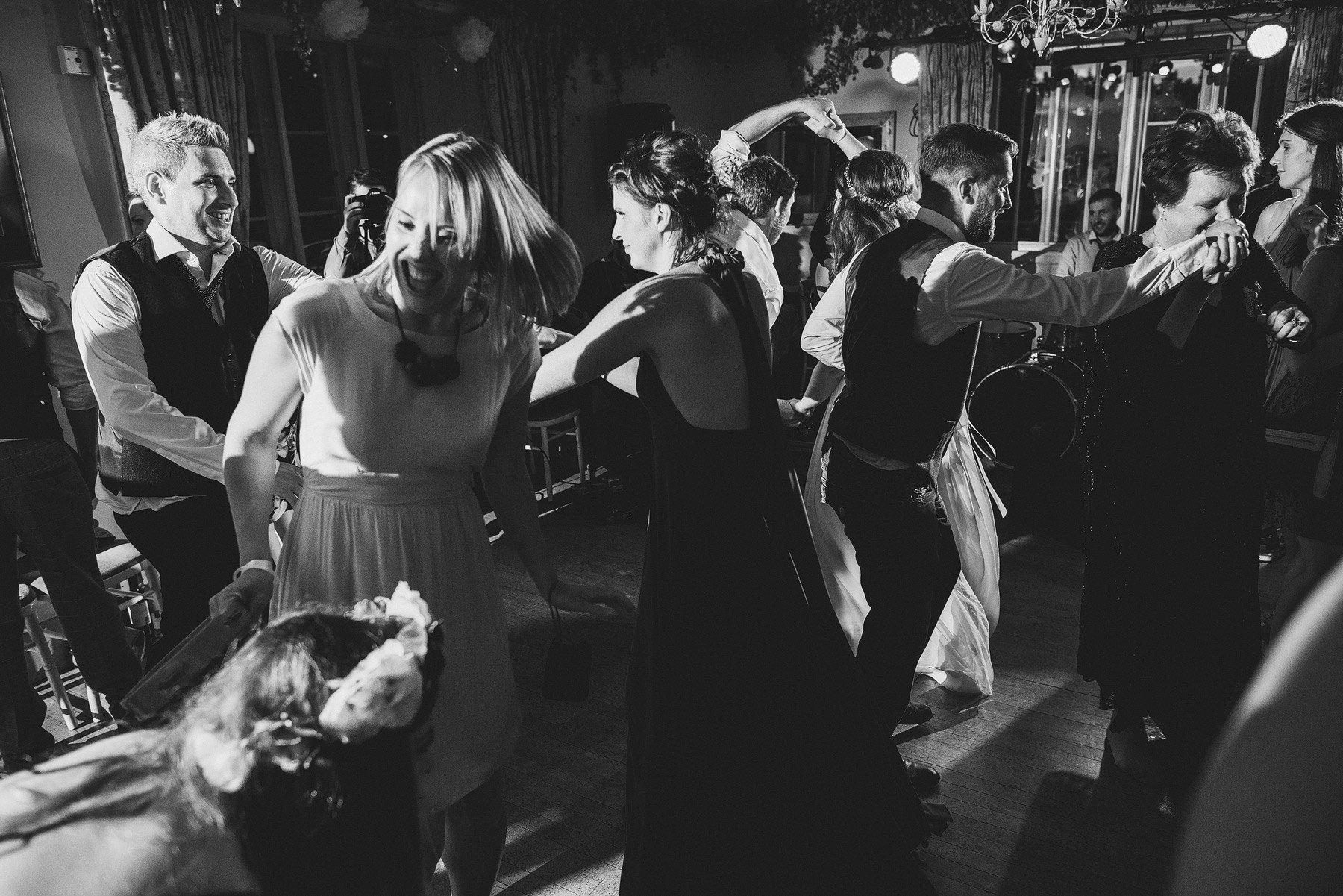dancing guests at somerset wedding