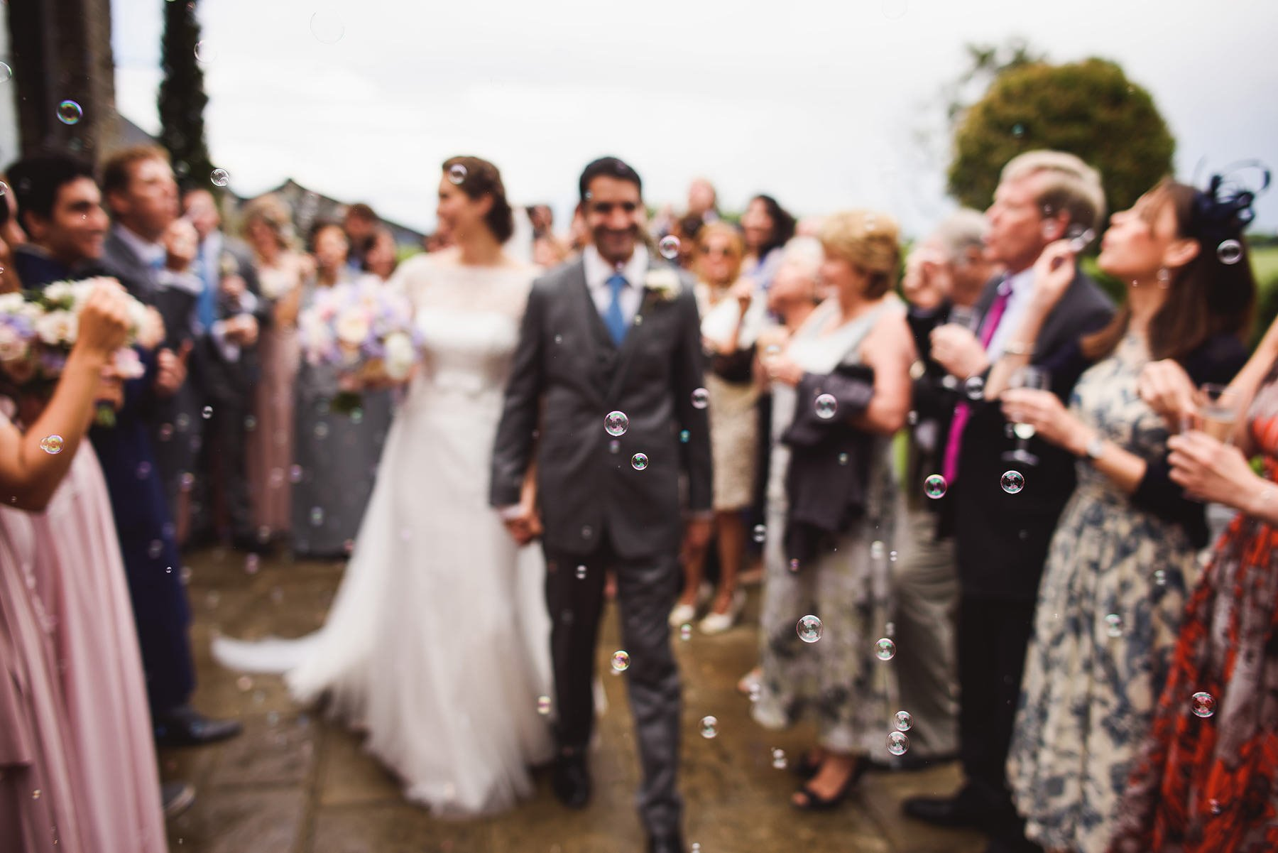 bubbles as confetti at a wedding