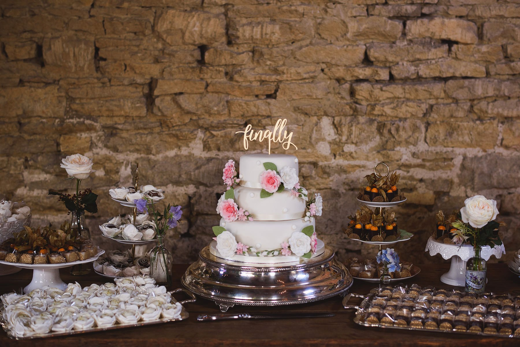 wedding cake table at cripps barn