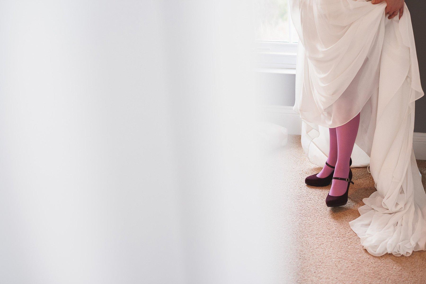 bride with purple tights