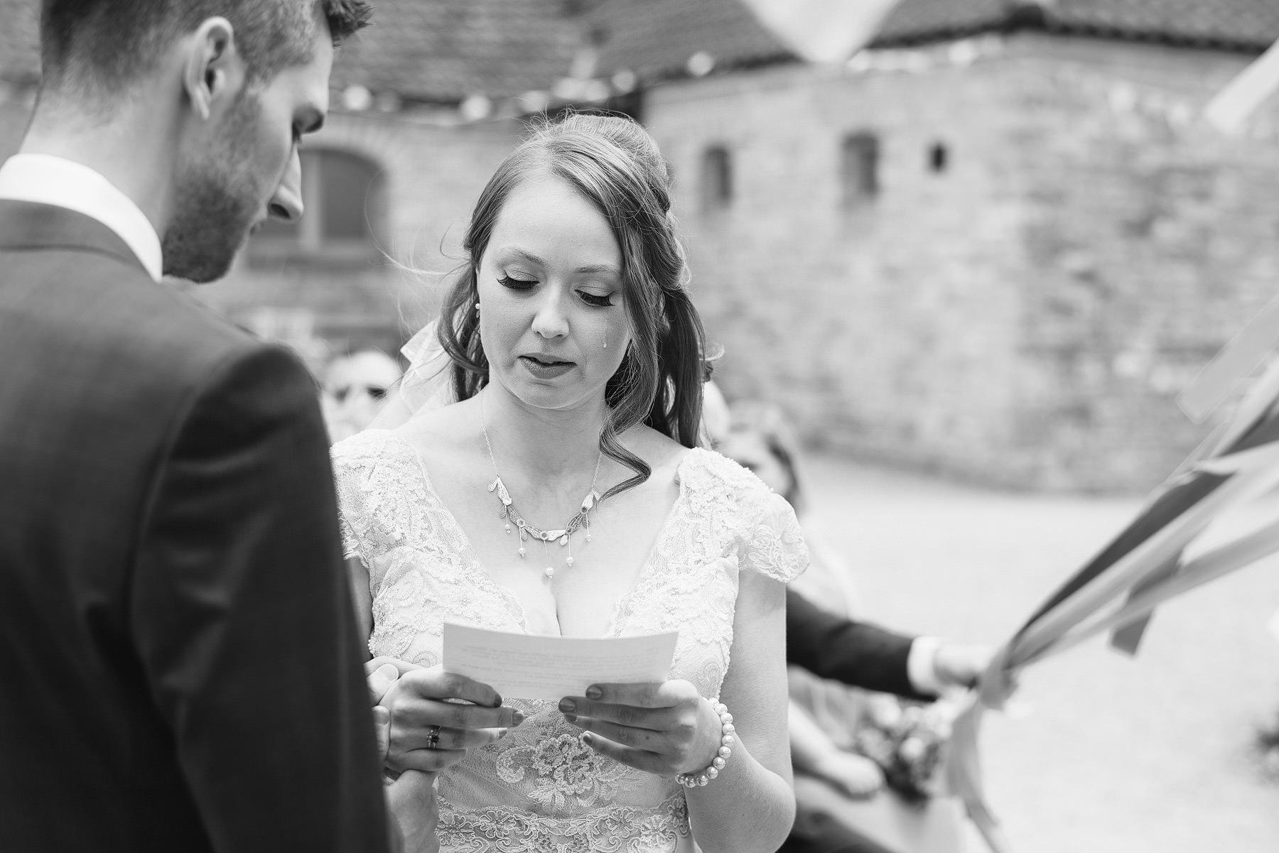 bride crying during wedding ceremony folly farm