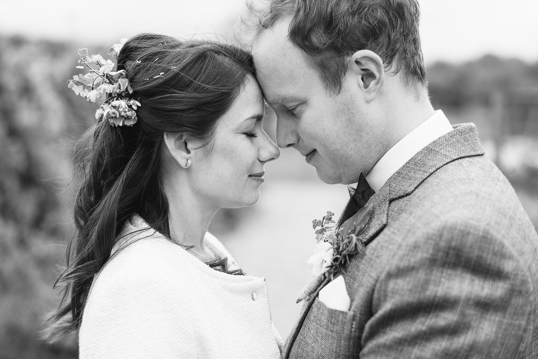 bride and groom portrait river cottage