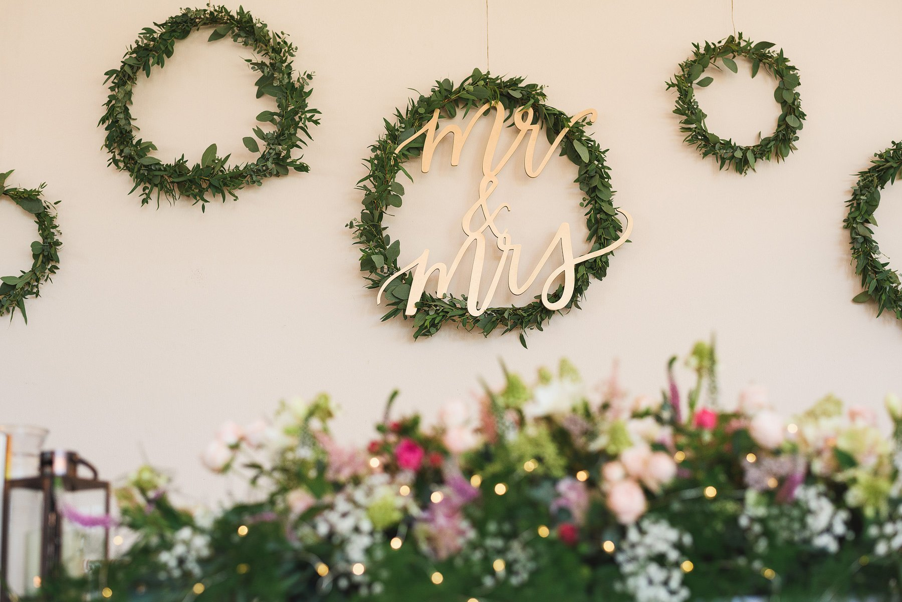 mr and mrs sign at a wedding