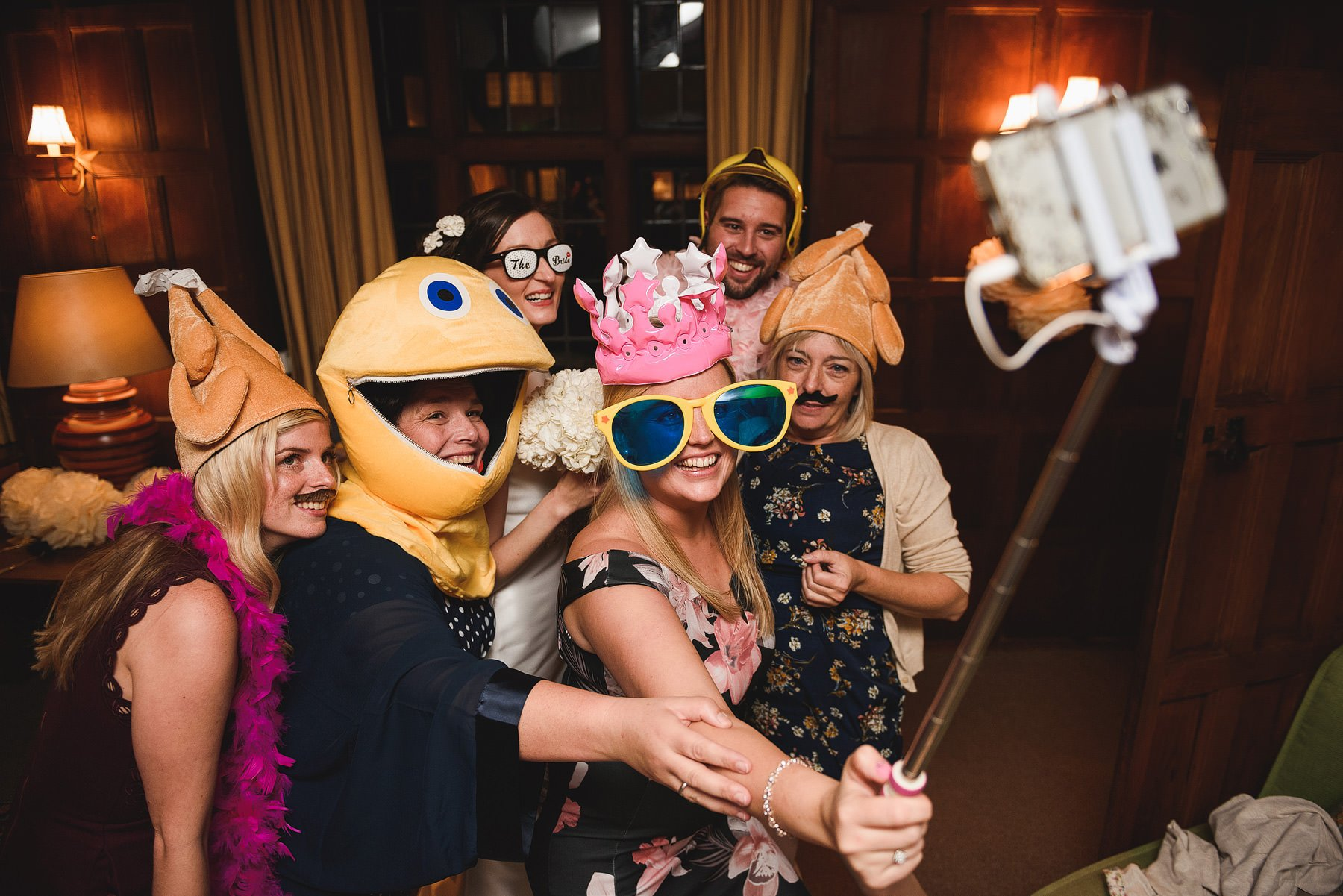 funny selfie at a wedding