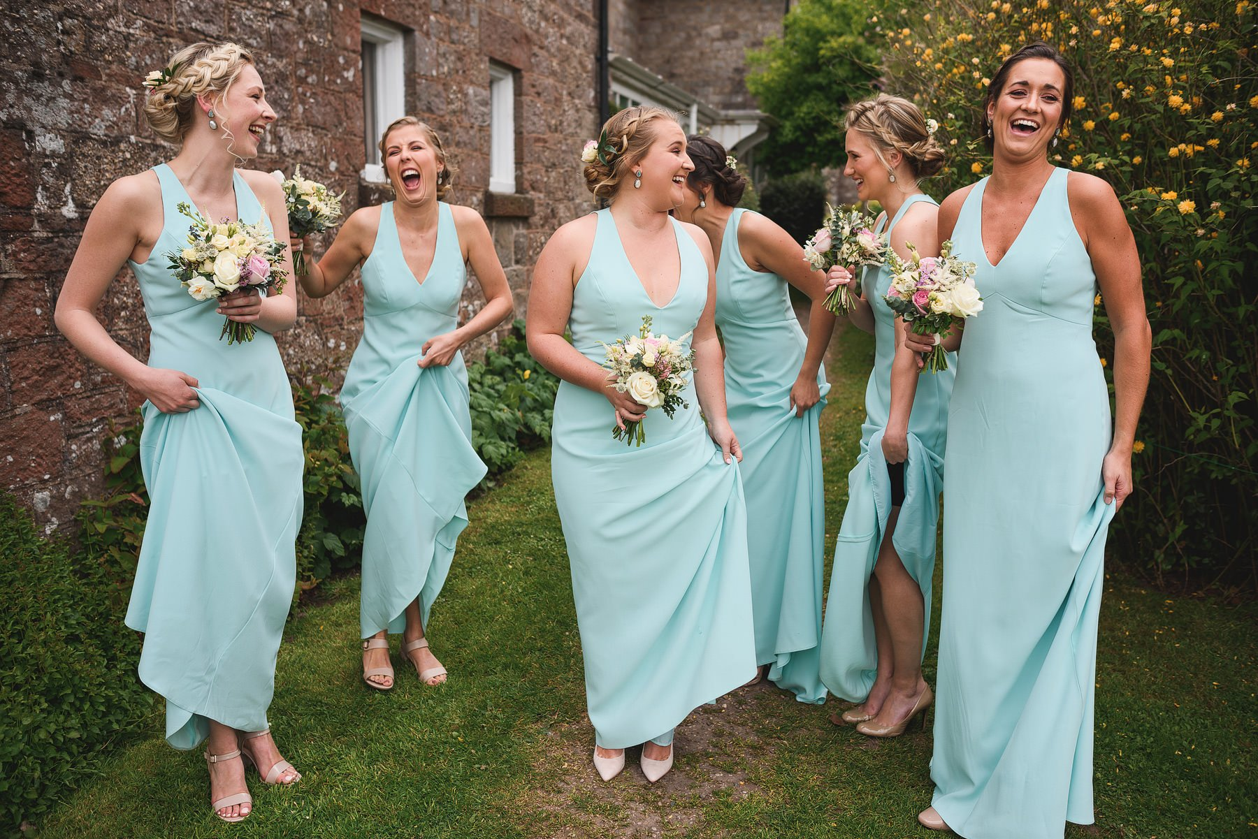 laughing bridesmaids in wales