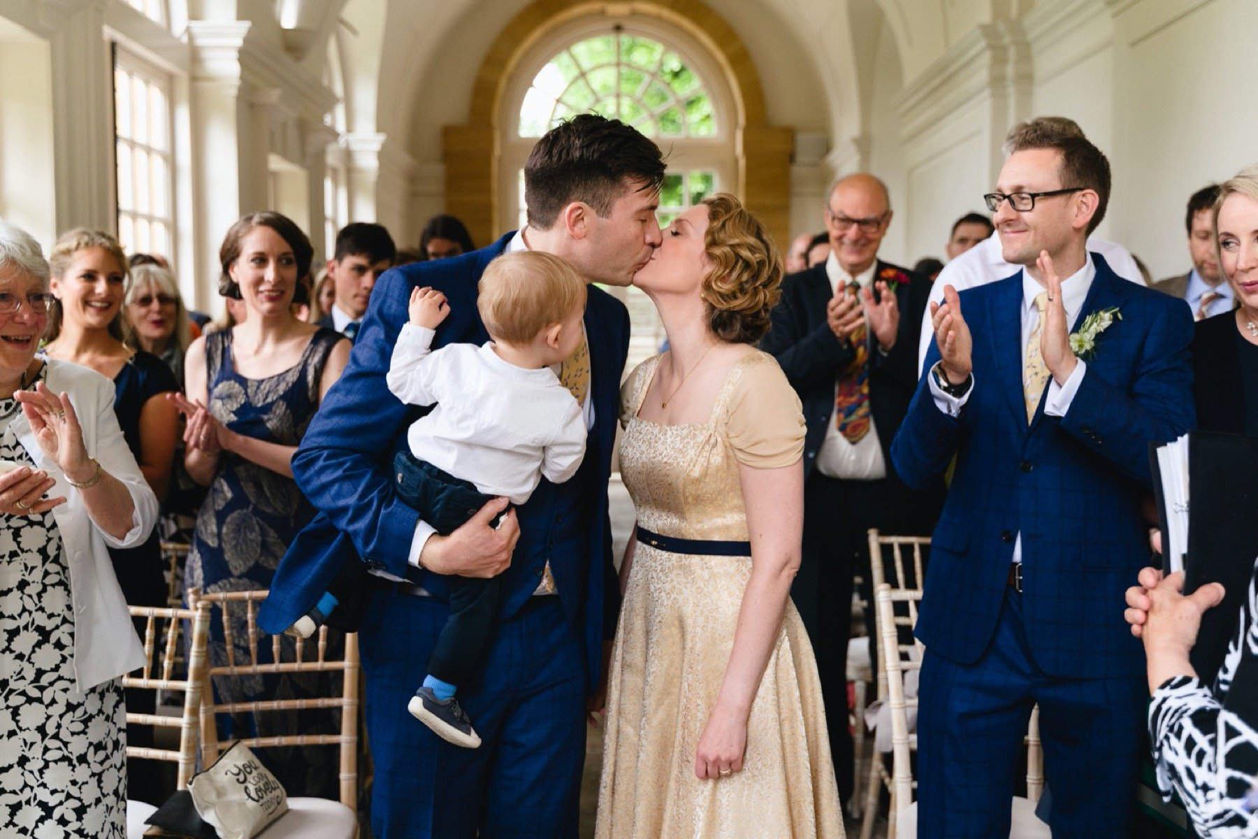 first kiss at hestercombe gardens wedding